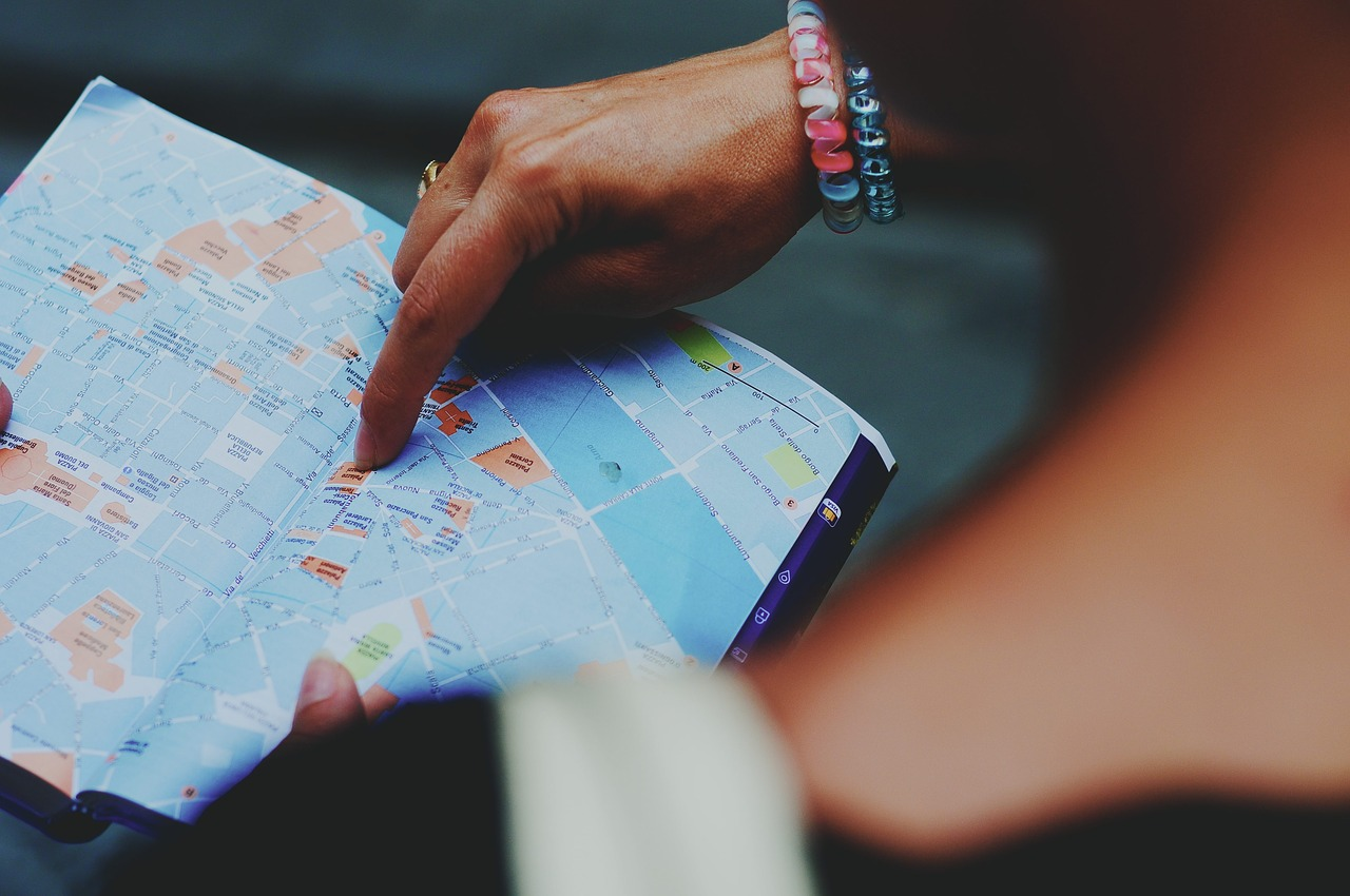 map, tourism, lost
